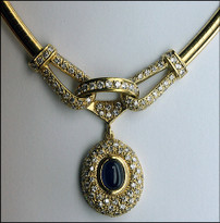 "18k Diamond Sapphire Necklace, 18"" Long, 3.61ct Diamond"