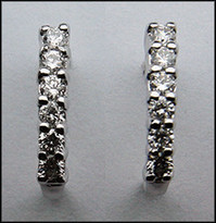 18k White Diamond Half Hoop Earring