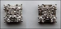 Diamond Studs .93ct Princess and Baguette Diamonds