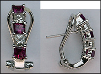 Pink Sapphire & Diamond Clip Earrings (Princess)