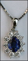 Blue Sapphire .86ct  Pendant in 18kt White Gold