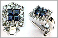 Clip Back Earrings - Princess Cut Sapphire and Diamond