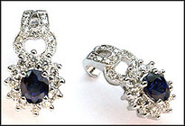 Blue Sapphire and Diamond Earrings weighing 1.48ct Sapphires