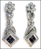 14kt Hanging Sapphire Earrings, Antique Style with Diamonds