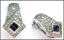 Sapphire Clip Back Earrings in White Gold - .85ct Diamond