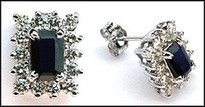 Sapphire and Diamond Stud Earrings (28 Diamonds)