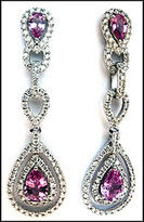 Dangling Pink Sapphire Diamond Earrings - 2.08ct Total