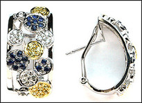 Yellow Sapphire / Blue Sapphire Earrings 14k White Gold