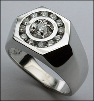 Circle Diamond Ring for Men in White Gold
