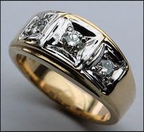 Two Tone Men's 3 Stone Diamond Ring