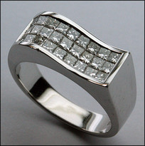 Men's Diamond Princess Cut Invisible Set Ring