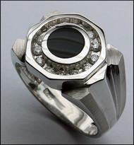 Onyx Ring for Men 14k White Gold