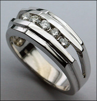 5 Stone Mens Diamond Ring