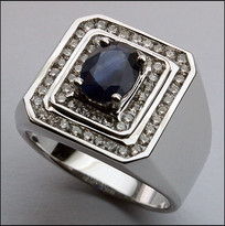 Sapphire and Diamond Men's Ring