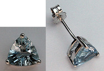 14k Aquamarine Studs - White Gold Aquamarine Jewelry