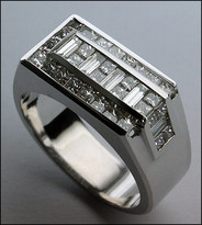 18k White Gold Men's Diamond Ring