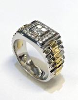 Men's Two Tone Diamond Ring 18k