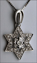 Diamond Star of David Pendant Diamond Cluster