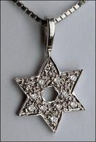 White Gold Jewish Star of David Pendant Jewish