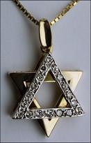 Two Tone Jewish Pendant Star of David Pendant