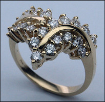 14kt Yellow Gold Diamond Ring - Ladies Diamond Ring