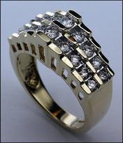 Diamond Ring 2 Rows Diamonds 14kt Yellow .67ct Diamond