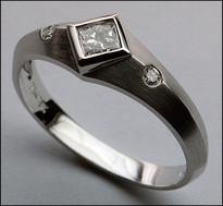 Princess Cut .26ct Diamond Ring, 18kt White