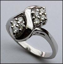 14kt White Ladies Diamond Ring