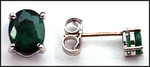 Oval Emerald Studs set in White Gold - .90ct Emerald