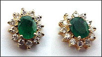 Yellow Gold Emerald Studs - Emerald and Diamond Stud Earrings
