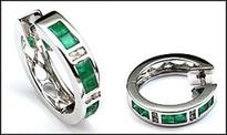 Huggies with Emeralds - Princess Cut Emeralds and Diamond Earrings