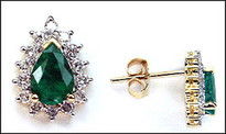 Pear Shaped Emerald Studs - 14kt Studs with Emeralds and Diamonds