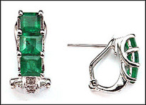 Princess Cut Emerald Earring - Emerald and Diamond Clip Back Earrings