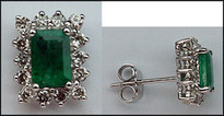 Emerald & Diamond Studs - Emerald Cut Emerald Studs with Diamonds