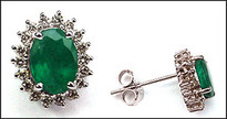 Emerald Stud Earrings with Diamonds - 14kt