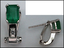 Clip Back Emerald Earrings 14k White Gold