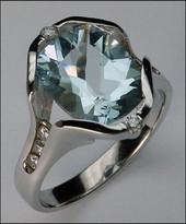 Aquamarine in14kt White Gold, Aquamarine Ring
