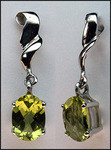 Hanging Peridot Gemstone Gold Earrings