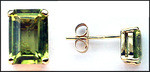 Yellow Gold Studs with Peridot Gemstones