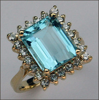 Blue Topaz 6.5ct Ring surrounded with Diamonds .66ct