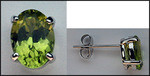 14k Oval Peridot Stud Earrings