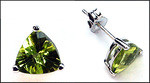 Peridot Trilliant Stud Earrings