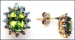 Gold Stud Earrings with Peridot Gemstone & Diamonds