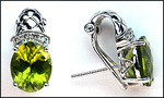 Diamond & Peridot Gold Clip Back Earrings