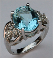 Aquamarine Jewelry, White Gold Aquamarine & Diamond Ring