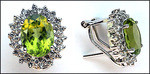 Peridot & Diamond Cluster Clip Back Earrings