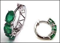 Three Stone Emerald Huggie Earring