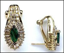 Marquise Emerald Earrings with Diamonds