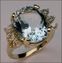 Aquamarine & Diamond Ring, Natural Aquamarine Gemstone