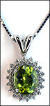 Peridot Pendant in 14kt White Surrounded with Diamonds